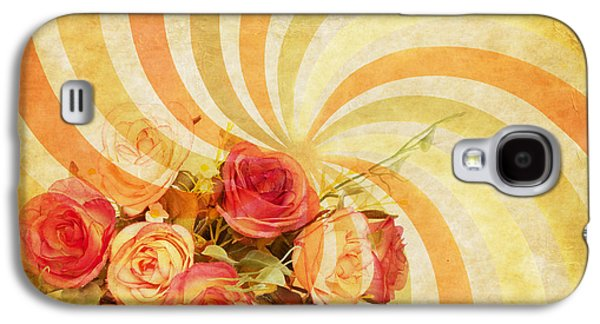 Torn Galaxy S4 Cases - Flower Pattern Retro Style Galaxy S4 Case by Setsiri Silapasuwanchai