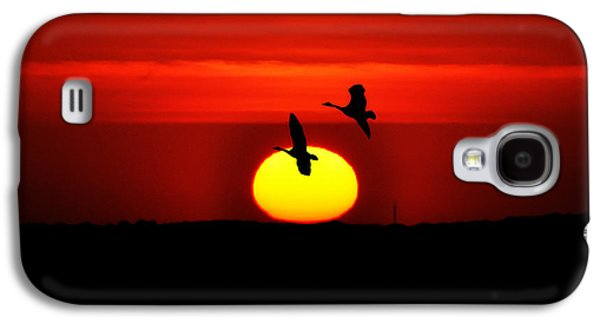 Geese Digital Art Galaxy S4 Cases - Flying North at Sunrise Galaxy S4 Case by Bill Cannon