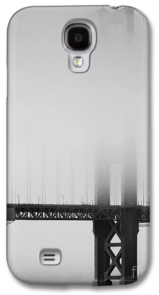 Wingsdomain Galaxy S4 Cases - Fog at the Golden Gate Bridge 4 - Black and White Galaxy S4 Case by Wingsdomain Art and Photography