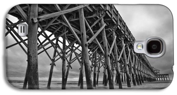 Beach Landscape Galaxy S4 Cases - Folly Beach Pier Black and White Galaxy S4 Case by Dustin K Ryan
