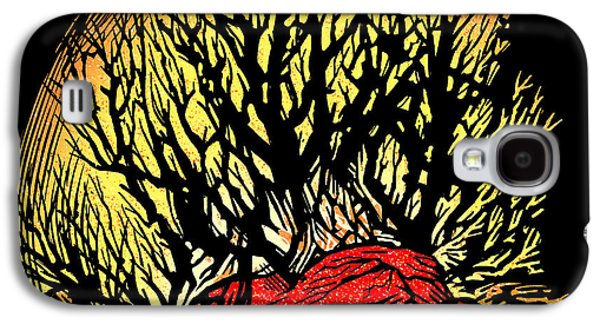 Linoleum Print Galaxy S4 Cases - Forest Fire, Lino Print Galaxy S4 Case by Gary Hincks
