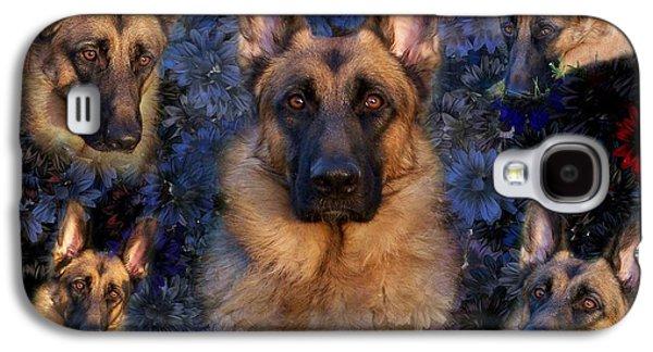 Dog Framed Prints Digital Art Galaxy S4 Cases - Forrest With Flowers - German Shepherd Dog Galaxy S4 Case by Angie Tirado