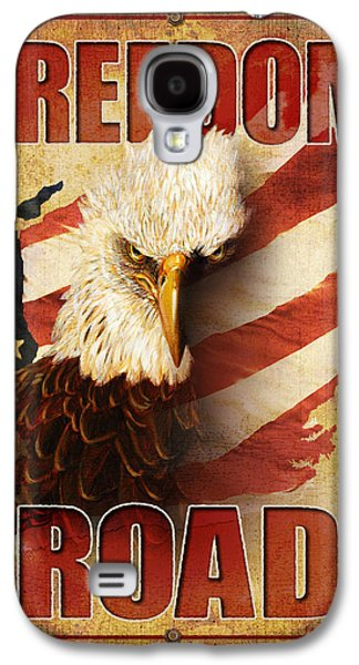 Flag Paintings Galaxy S4 Cases - Freedom Road Sign Galaxy S4 Case by JQ Licensing