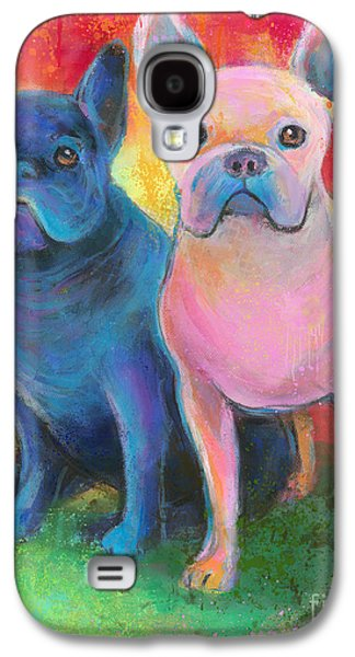 Puppies Galaxy S4 Cases - French Bulldog dogs white and black painting Galaxy S4 Case by Svetlana Novikova