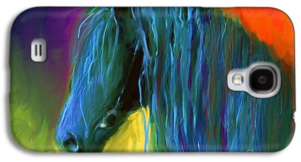 Svetlana Novikova Digital Art Galaxy S4 Cases - Friesian Horse painting 2 Galaxy S4 Case by Svetlana Novikova