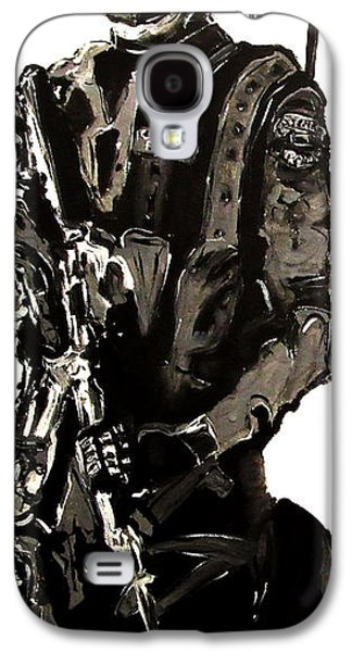 Police Art Paintings Galaxy S4 Cases - Full Length Figure Portrait of SWAT team leader Alpha Chicago Police in full uniform with war gun Galaxy S4 Case by M Zimmerman MendyZ