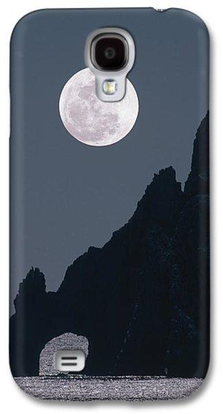 Sea Moon Full Moon Galaxy S4 Cases - Full Moon Rising Over A Coastal Cliff Galaxy S4 Case by David Nunuk