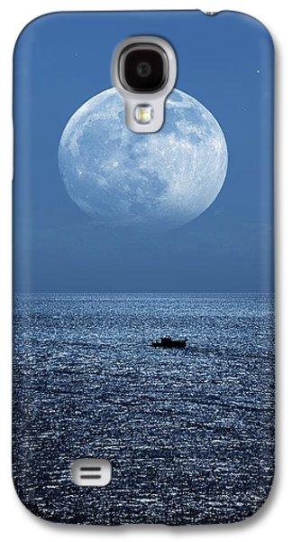 Sea Moon Full Moon Galaxy S4 Cases - Full Moon Rising Over The Sea Galaxy S4 Case by Detlev Van Ravenswaay