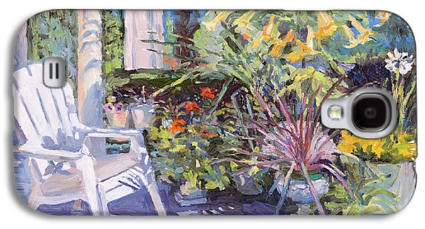Chair Galaxy S4 Cases - Garden Chair in the Patio Galaxy S4 Case by Judith Barath