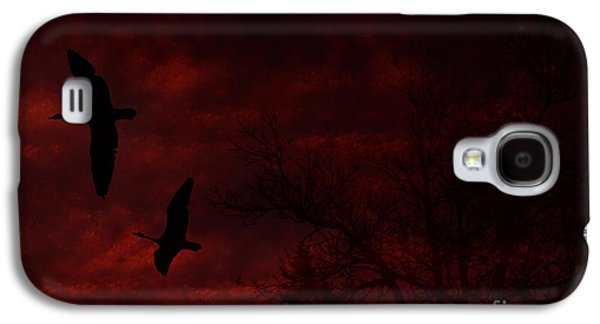 Geese Digital Art Galaxy S4 Cases - Geese Abstract Galaxy S4 Case by Marjorie Imbeau