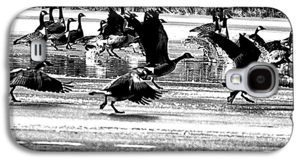 Geese Digital Art Galaxy S4 Cases - Geese on Ice Taking Flight Galaxy S4 Case by Bill Cannon