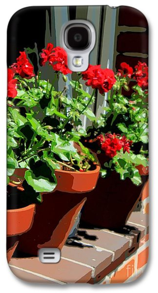 Red Geraniums Galaxy S4 Cases - Geraniums in Germany Galaxy S4 Case by Carol Groenen