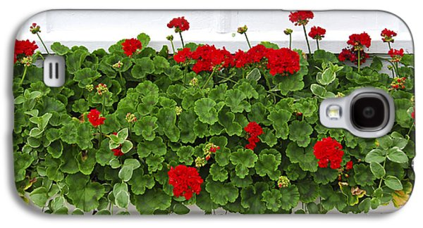 Red Geraniums Galaxy S4 Cases - Geraniums on window Galaxy S4 Case by Elena Elisseeva