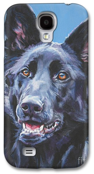 German Shepherd Galaxy S4 Cases - German Shepherd Black Galaxy S4 Case by Lee Ann Shepard