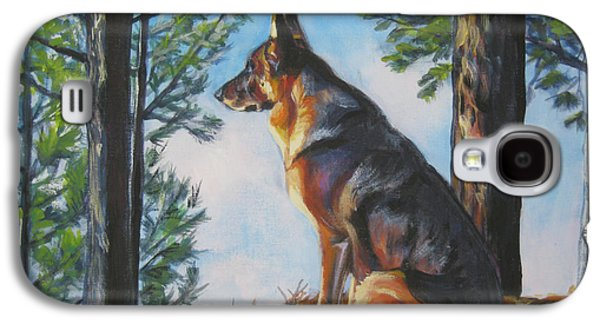 German Shepherd Galaxy S4 Cases - German Shepherd Lookout Galaxy S4 Case by Lee Ann Shepard