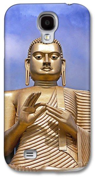 Sacred-wisdom Galaxy S4 Cases - Giant gold Bhudda Galaxy S4 Case by Jane Rix