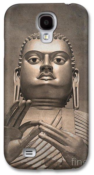 Sacred-wisdom Galaxy S4 Cases - Giant Gold Buddha vintage Galaxy S4 Case by Jane Rix