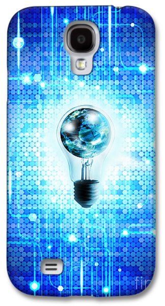 Orb* Galaxy S4 Cases - Globe And Light Bulb With Technology Background Galaxy S4 Case by Setsiri Silapasuwanchai