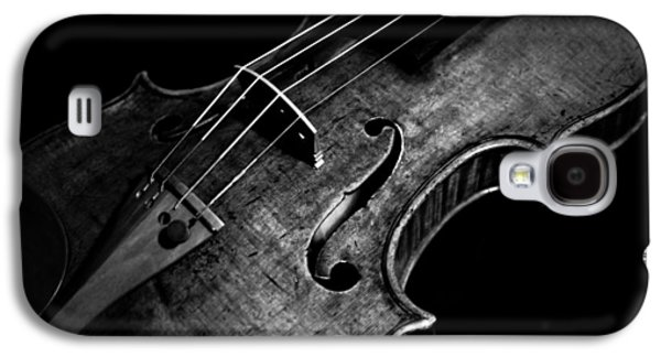 Music Pyrography Galaxy S4 Cases - Goffriller Violin Black and White Galaxy S4 Case by Sam Hymas