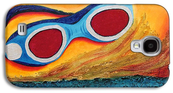 Abstract Digital Paintings Galaxy S4 Cases - Goggles in the sand Galaxy S4 Case by Mauro Celotti