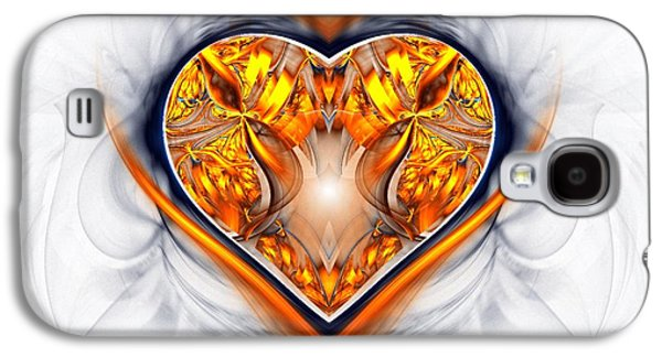 Digital Art Greeting Cards Galaxy S4 Cases - Gold and Sapphire Heart  Galaxy S4 Case by Sandra Bauser Digital Art