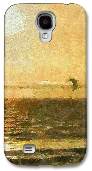Kite Surfing Galaxy S4 Cases - Golden Day Painterly Galaxy S4 Case by Ernie Echols