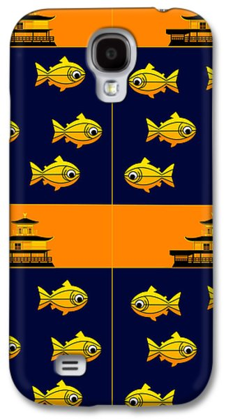 Asbjorn Lonvig Digital Galaxy S4 Cases - Golden Pavilion in Kyoto Japan and golden trouts Galaxy S4 Case by Asbjorn Lonvig