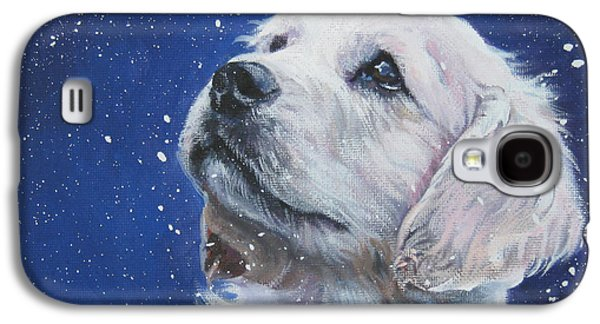 Puppies Galaxy S4 Cases - Golden Retriever Pup in Snow Galaxy S4 Case by L A Shepard