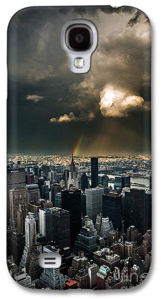 Manhatten Galaxy S4 Cases - Great Skies over Manhattan Galaxy S4 Case by Hannes Cmarits