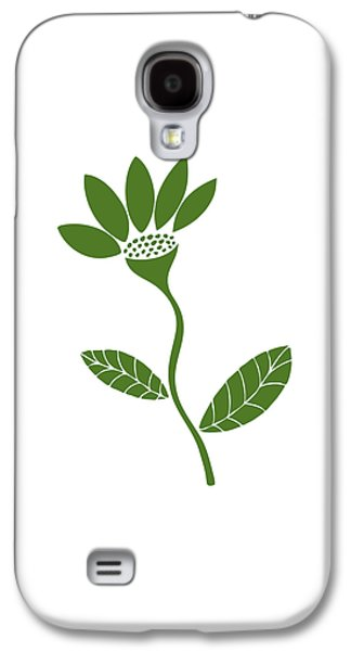 Green Drawings Galaxy S4 Cases - Green Flower Galaxy S4 Case by Frank Tschakert