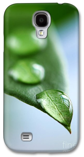 Green Leaf With Water Drops Galaxy S4 Case by Elena Elisseeva