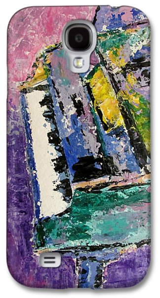 Splashy Paintings Galaxy S4 Cases - Green Piano Side View Galaxy S4 Case by Anita Burgermeister