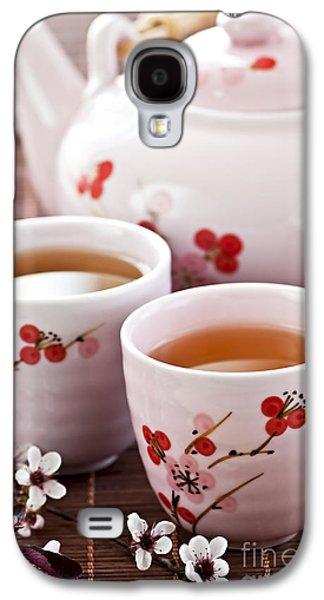 Cherry Blossoms Galaxy S4 Cases - Green tea set Galaxy S4 Case by Elena Elisseeva