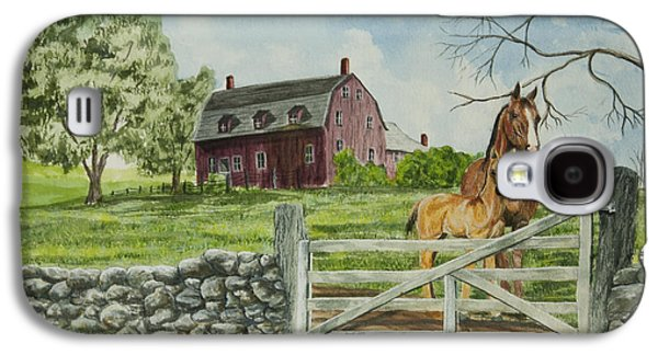 Old Barns Paintings Galaxy S4 Cases - Greeting At The Gate Galaxy S4 Case by Charlotte Blanchard