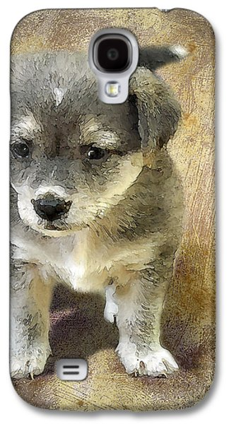 Puppies Digital Art Galaxy S4 Cases - Grey Puppy Galaxy S4 Case by Svetlana Sewell