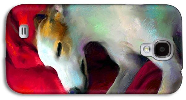 Breed Digital Art Galaxy S4 Cases - Greyhound Dog portrait  Galaxy S4 Case by Svetlana Novikova