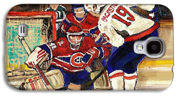 Montreal Street Life Paintings Galaxy S4 Cases - Halak Blocks Backstrom In Stanley Cup Playoffs 2010 Galaxy S4 Case by Carole Spandau