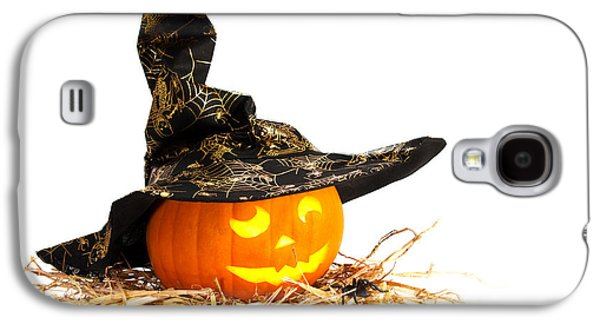 Halloween Photographs Galaxy S4 Cases - Halloween Pumpkin With Witches Hat Galaxy S4 Case by Amanda And Christopher Elwell