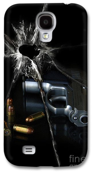 Terrorist Galaxy S4 Cases - Handgun Bullets and Bullet Hole Galaxy S4 Case by Jill Battaglia