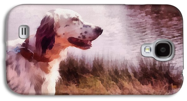 Dogs Pyrography Galaxy S4 Cases - Handsome Hunter. English Setter Galaxy S4 Case by Jenny Rainbow
