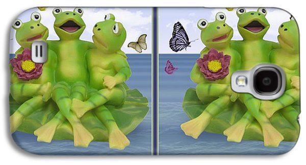 Flying Frog Galaxy S4 Cases - Happy Frogs - Gently cross your eyes and focus on the middle image Galaxy S4 Case by Brian Wallace