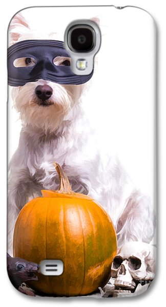 Cute Puppy Galaxy S4 Cases - Happy Halloween Dog Galaxy S4 Case by Edward Fielding