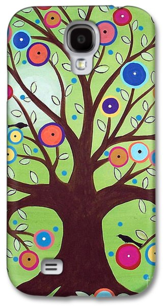 Crows Paintings Galaxy S4 Cases - Happy Tree Galaxy S4 Case by Karla Gerard
