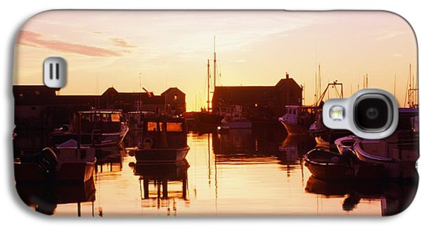 Boats In Reflecting Water Galaxy S4 Cases - Harbor At Sunrise Galaxy S4 Case by Bilderbuch
