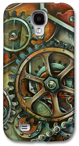 Gear Paintings Galaxy S4 Cases - Harmony 3 Galaxy S4 Case by Michael Lang