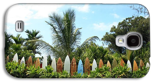 Blue Green Wave Galaxy S4 Cases - Hawaii Surfboard Fence Galaxy S4 Case by Michael Ledray