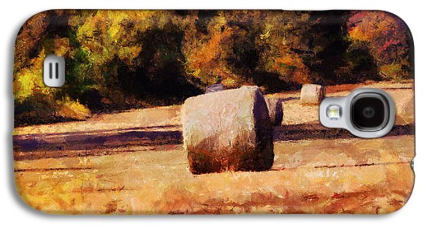 Hay Bales Paintings Galaxy S4 Cases - Hay Bales Galaxy S4 Case by Jai Johnson