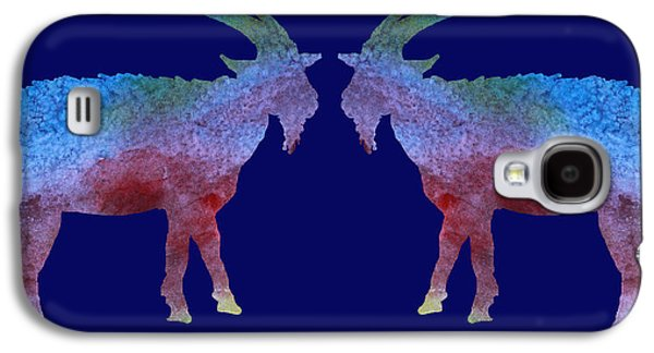 Goat Digital Art Galaxy S4 Cases - Head to Head Galaxy S4 Case by Jenny Armitage