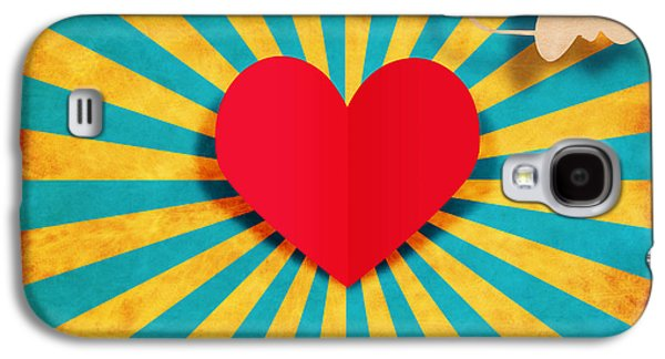 Cardboard Galaxy S4 Cases - Heart And Cupid On Paper Texture Galaxy S4 Case by Setsiri Silapasuwanchai