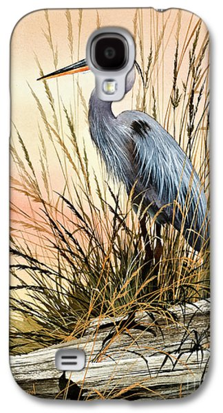 Sunset Greeting Cards Galaxy S4 Cases - Heron Sunset Galaxy S4 Case by James Williamson